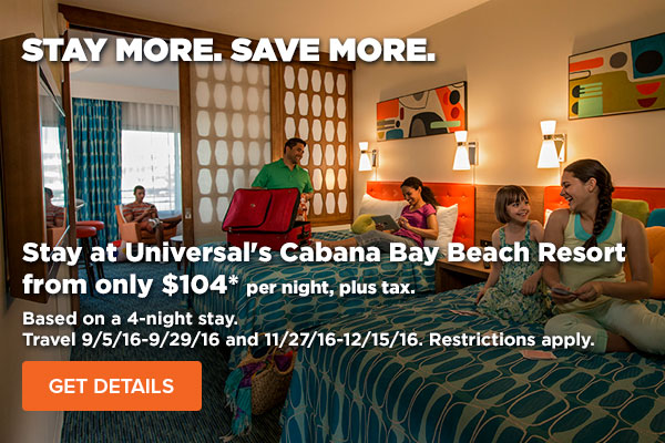Stay at Universal's Cabana Bay Beach Resort from only $104* per night, plus tax.