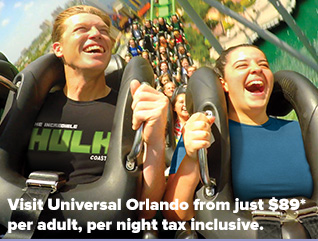 Visit Universal Orlando from just $89* per adult, per night tax inclusive.