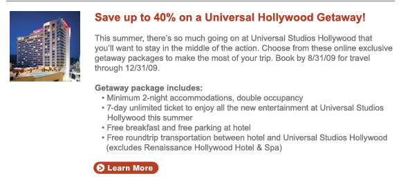 save up to 40% on a Universal Hollywood Getaway!
